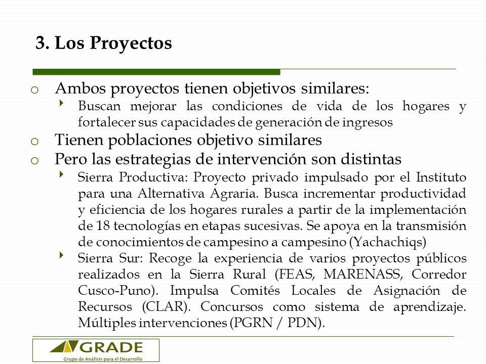 3. Los Proyectos Ambos proyectos tienen objetivos similares: