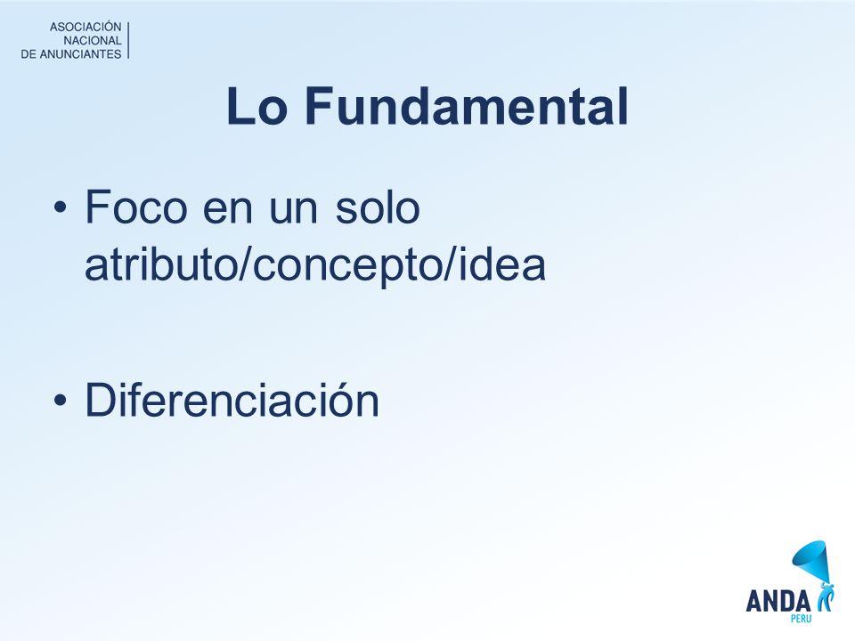 Lo Fundamental Foco en un solo atributo/concepto/idea Diferenciación