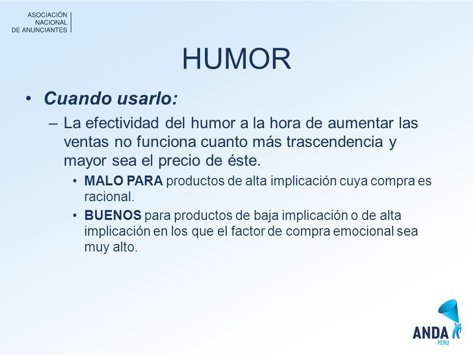 HUMOR Cuando usarlo: La efectividad del humor a la hora de aumentar las ventas no funciona cuanto más trascendencia y mayor sea el precio de éste.
