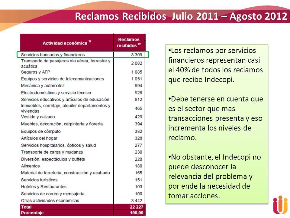 Reclamos Recibidos Julio 2011 – Agosto 2012