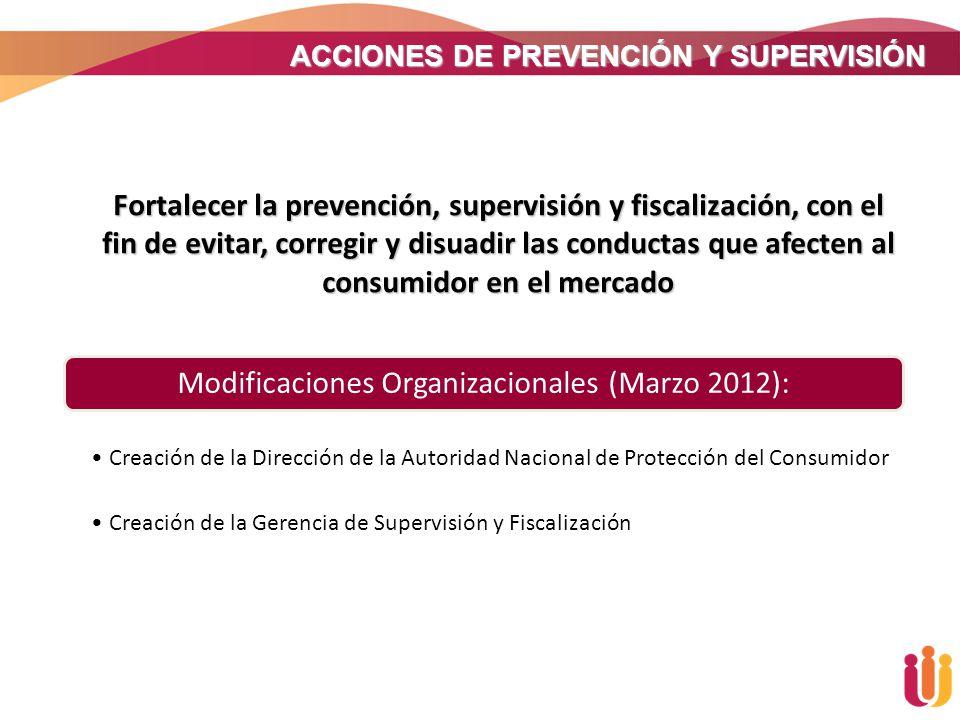 Modificaciones Organizacionales (Marzo 2012):