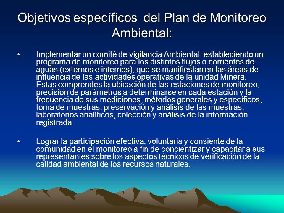 Objetivos específicos del Plan de Monitoreo Ambiental: