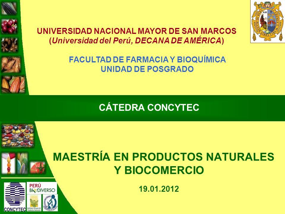 MAESTRÍA EN PRODUCTOS NATURALES Y BIOCOMERCIO
