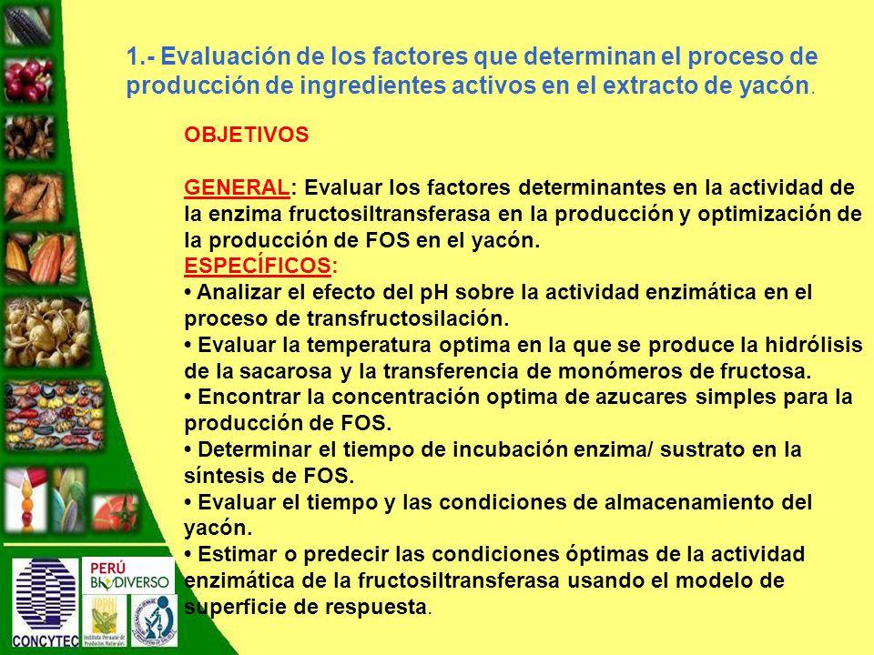1.- Evaluación de los factores que determinan el proceso de producción de ingredientes activos en el extracto de yacón.