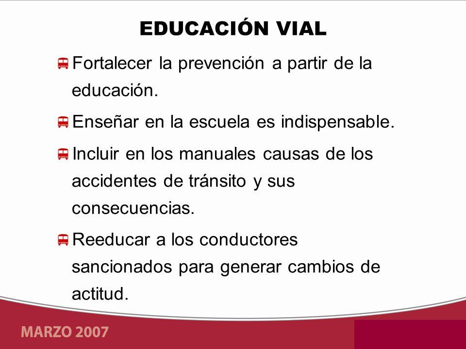 EDUCACIÓN VIAL Fortalecer la prevención a partir de la educación.