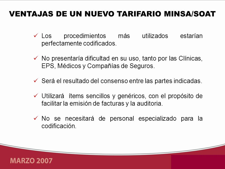 VENTAJAS DE UN NUEVO TARIFARIO MINSA/SOAT