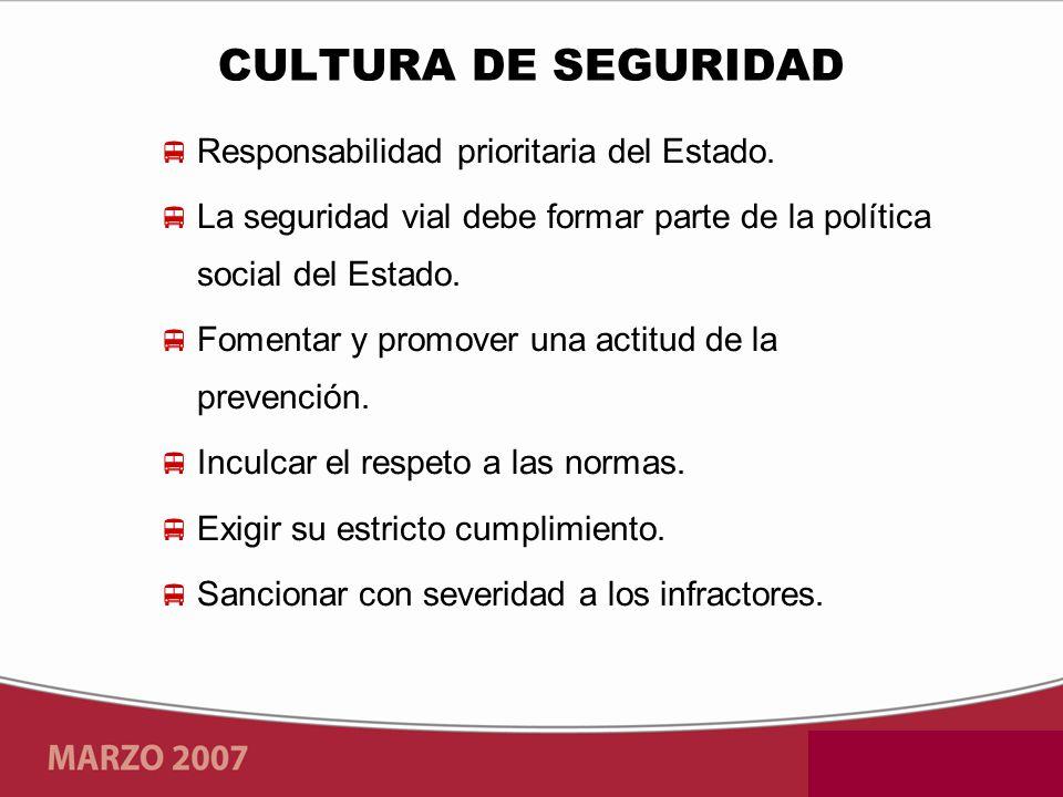 CULTURA DE SEGURIDAD Responsabilidad prioritaria del Estado.