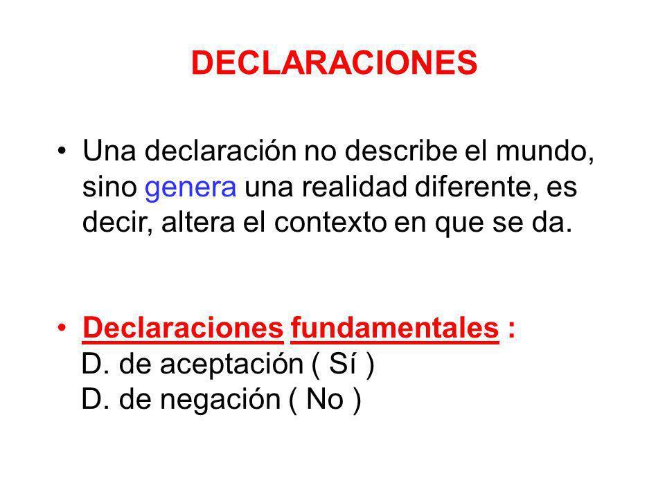 DECLARACIONES Una declaración no describe el mundo, sino genera una realidad diferente, es decir, altera el contexto en que se da.