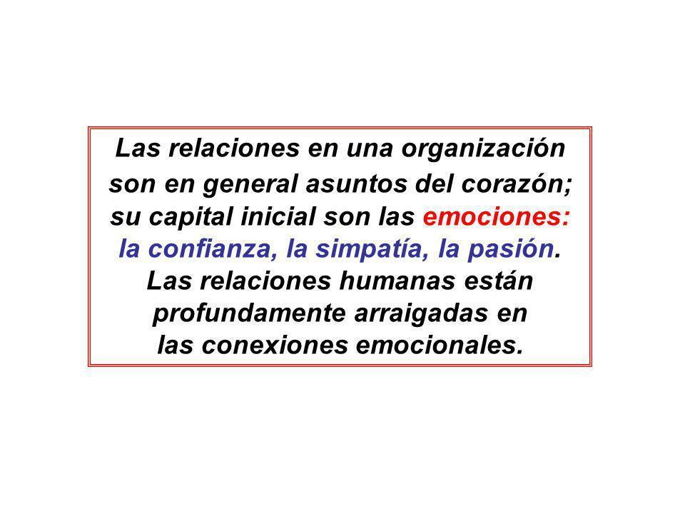 Las relaciones en una organización son en general asuntos del corazón; su capital inicial son las emociones: la confianza, la simpatía, la pasión.
