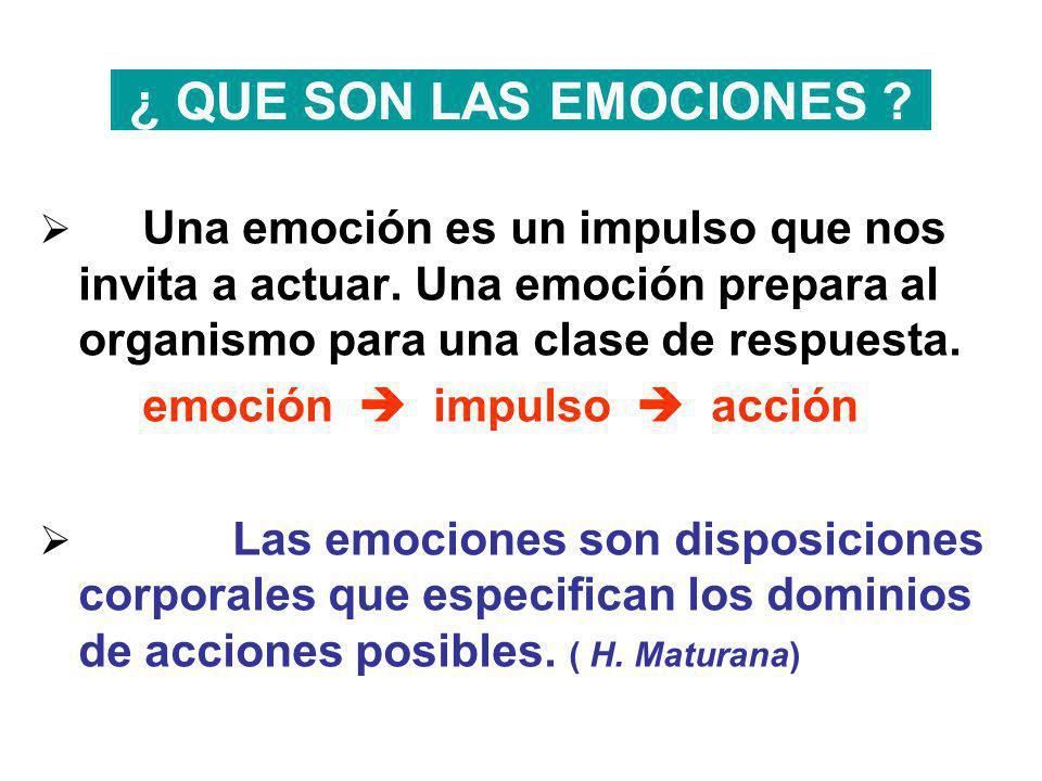 ¿ QUE SON LAS EMOCIONES Una emoción es un impulso que nos invita a actuar. Una emoción prepara al organismo para una clase de respuesta.