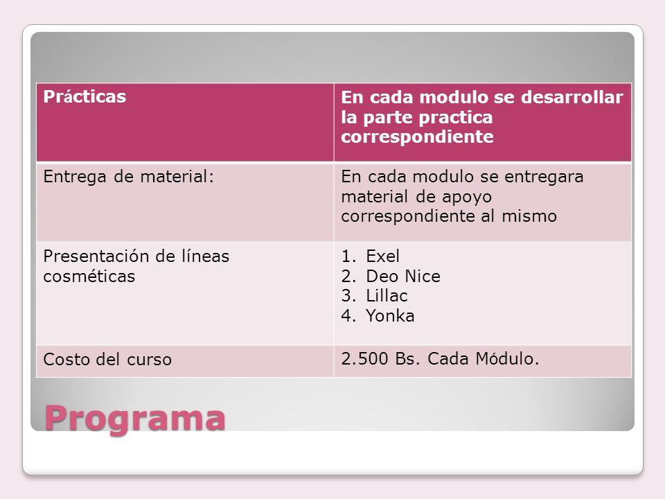 PrácticasEn cada modulo se desarrollar la parte practica correspondiente. Entrega de material: