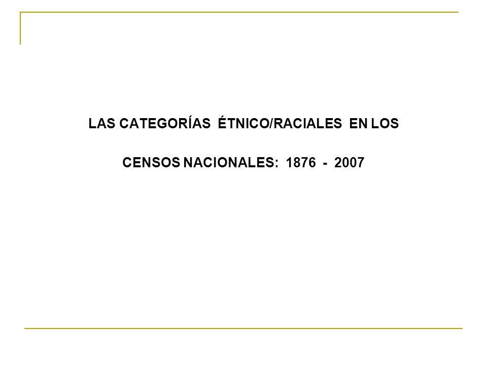 LAS CATEGORÍAS ÉTNICO/RACIALES EN LOS