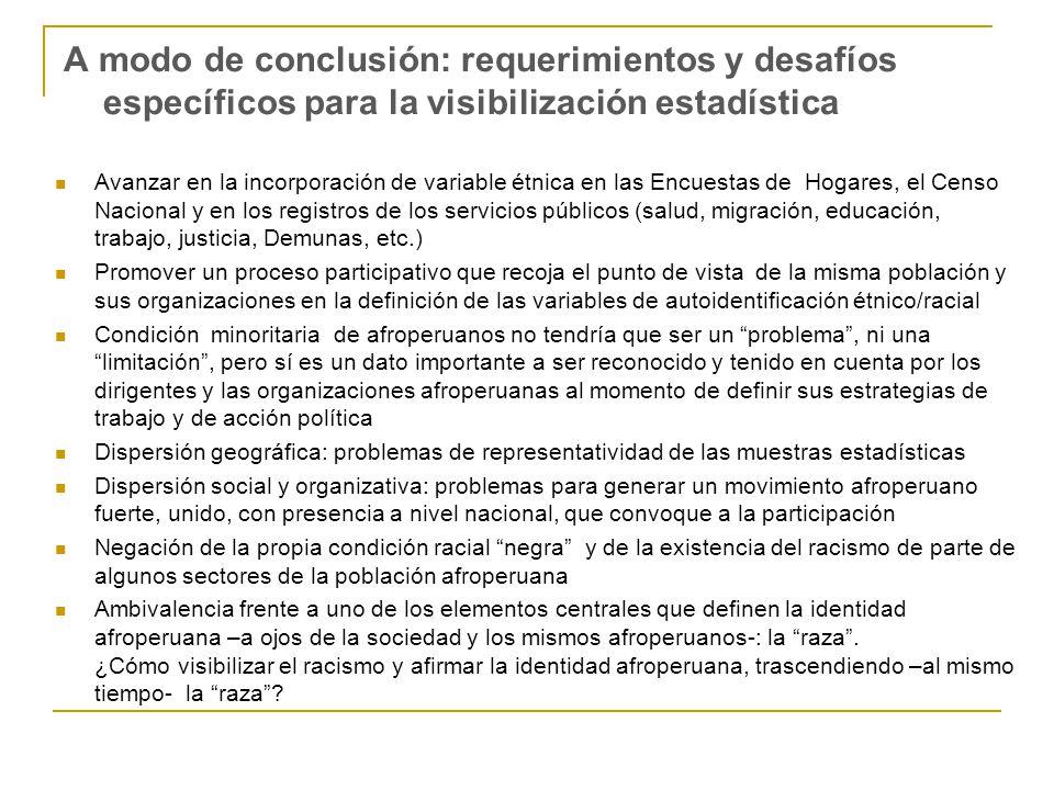 A modo de conclusión: requerimientos y desafíos específicos para la visibilización estadística