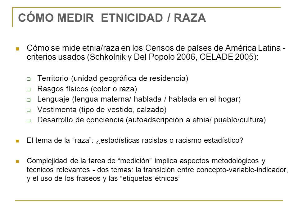 CÓMO MEDIR ETNICIDAD / RAZA