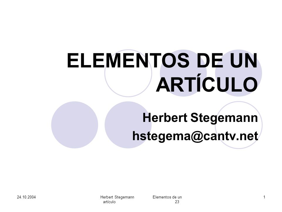 ELEMENTOS DE UN ARTÍCULO