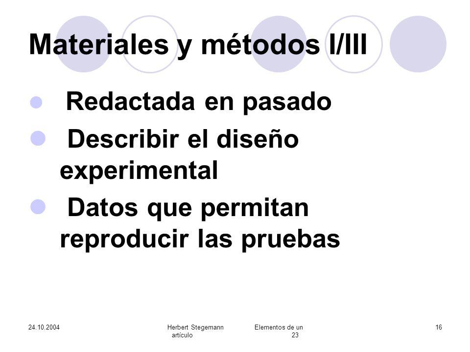 Materiales y métodos I/III
