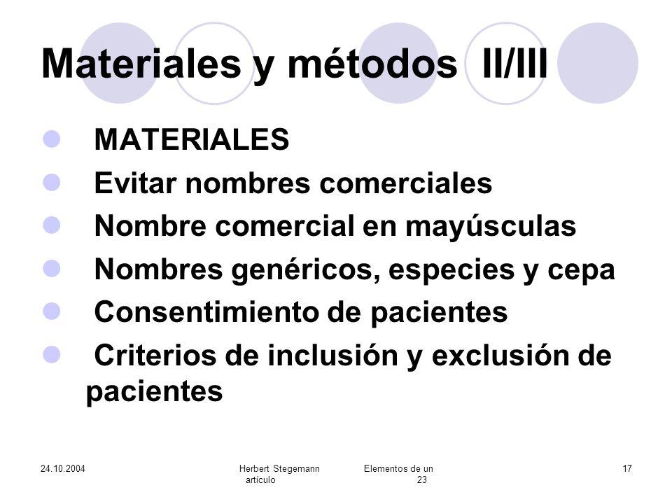 Materiales y métodos II/III