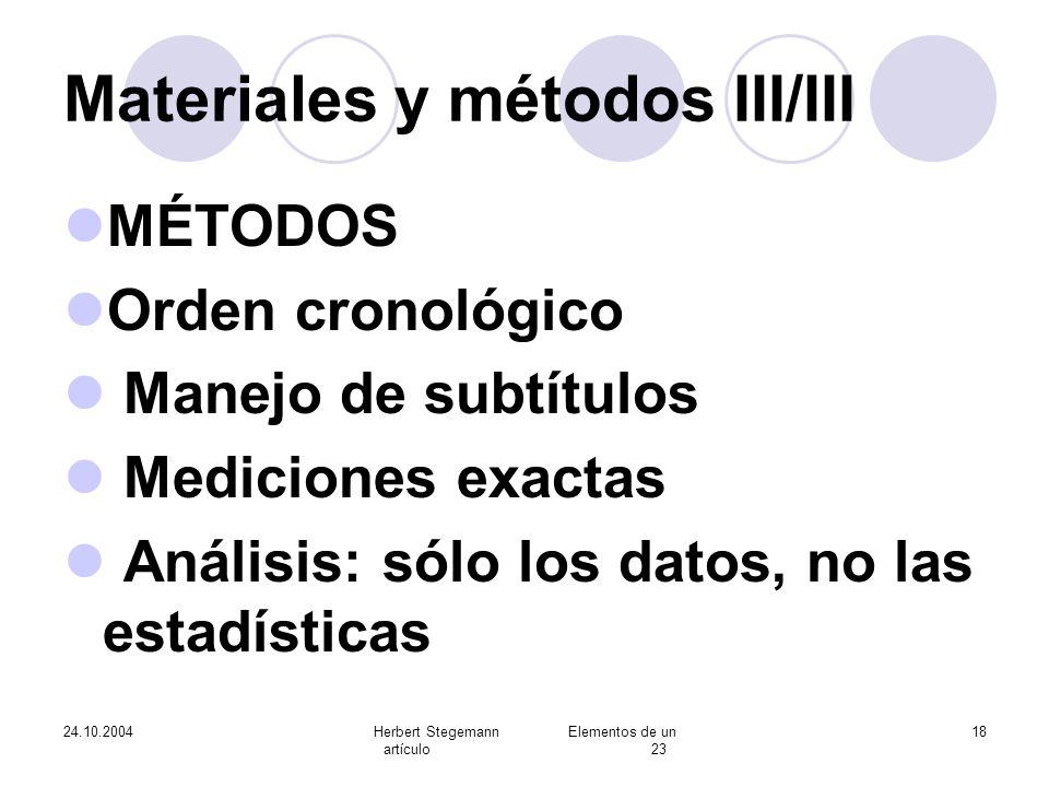 Materiales y métodos III/III