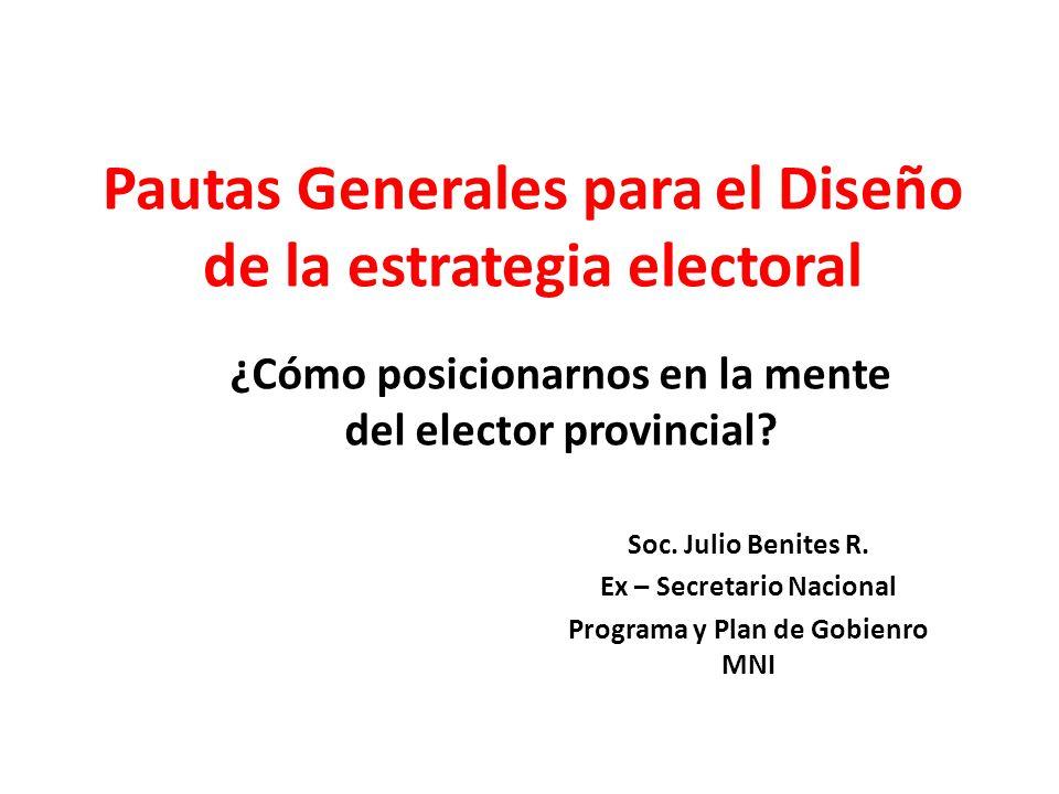 Pautas Generales para el Diseño de la estrategia electoral