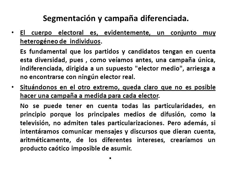 Segmentación y campaña diferenciada.