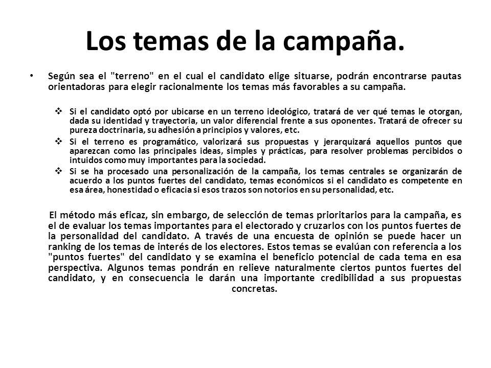 Los temas de la campaña.