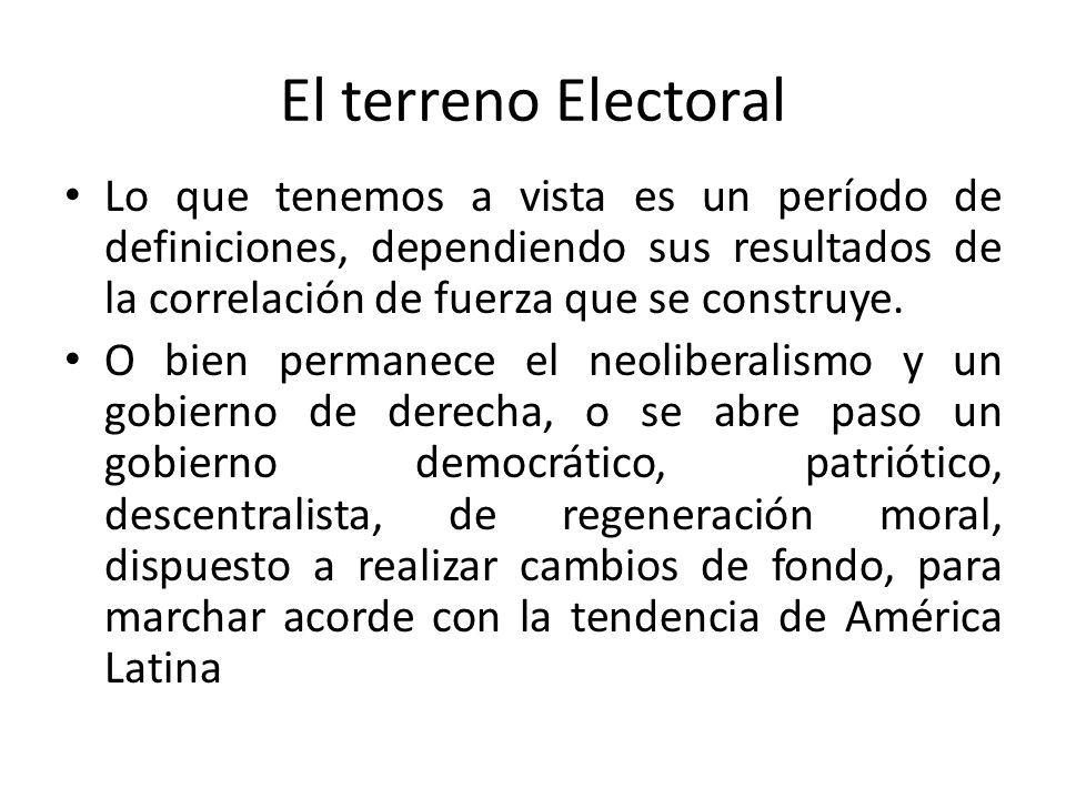 El terreno Electoral Lo que tenemos a vista es un período de definiciones, dependiendo sus resultados de la correlación de fuerza que se construye.