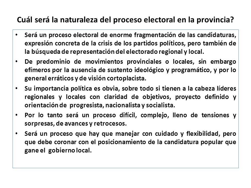 Cuál será la naturaleza del proceso electoral en la provincia
