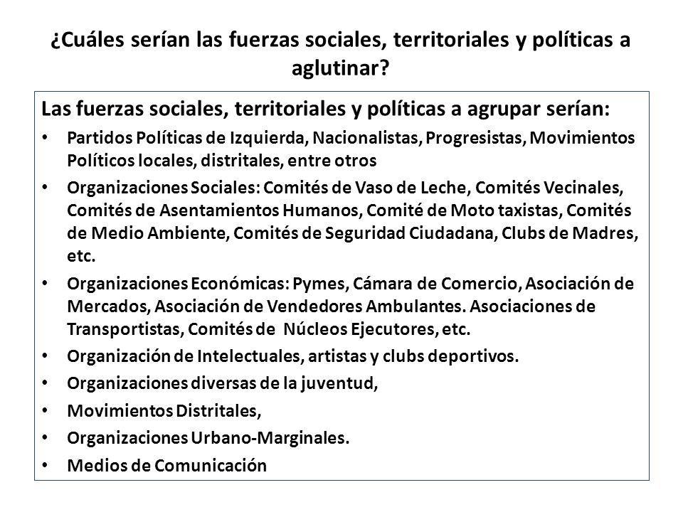 ¿Cuáles serían las fuerzas sociales, territoriales y políticas a aglutinar