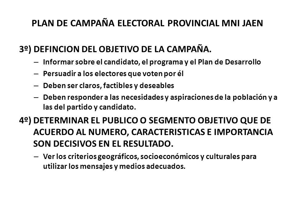 PLAN DE CAMPAÑA ELECTORAL PROVINCIAL MNI JAEN