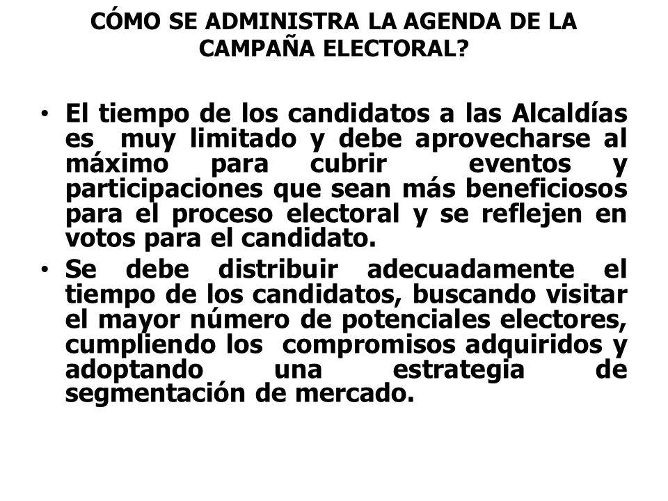 CÓMO SE ADMINISTRA LA AGENDA DE LA CAMPAÑA ELECTORAL