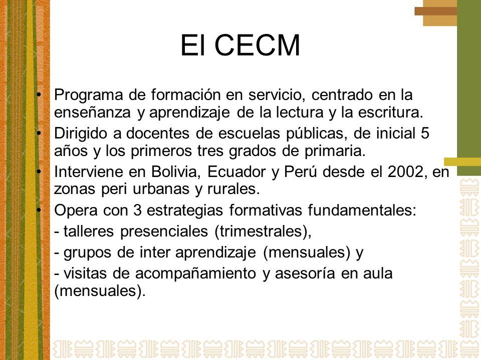El CECM Programa de formación en servicio, centrado en la enseñanza y aprendizaje de la lectura y la escritura.