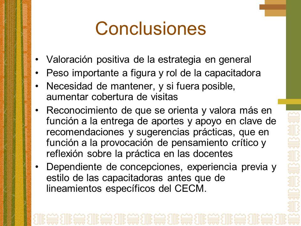 Conclusiones Valoración positiva de la estrategia en general
