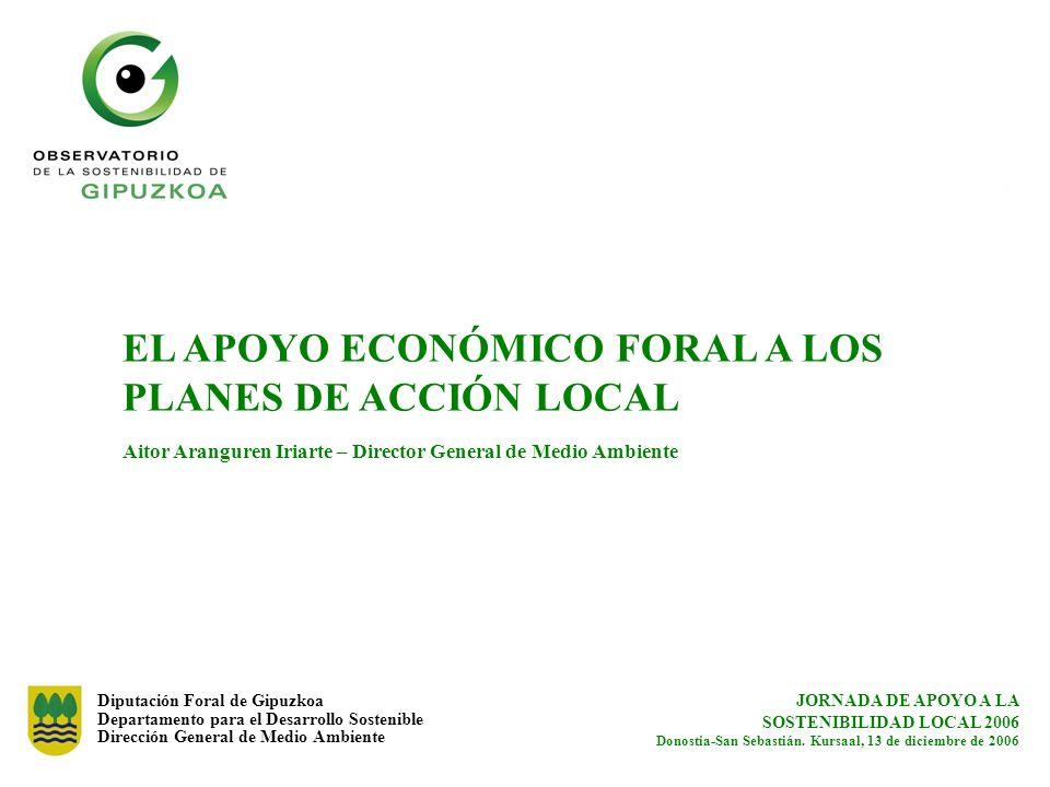 EL APOYO ECONÓMICO FORAL A LOS PLANES DE ACCIÓN LOCAL Aitor Aranguren Iriarte – Director General de Medio Ambiente