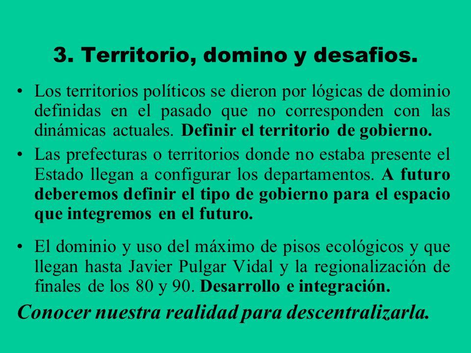 3. Territorio, domino y desafios.