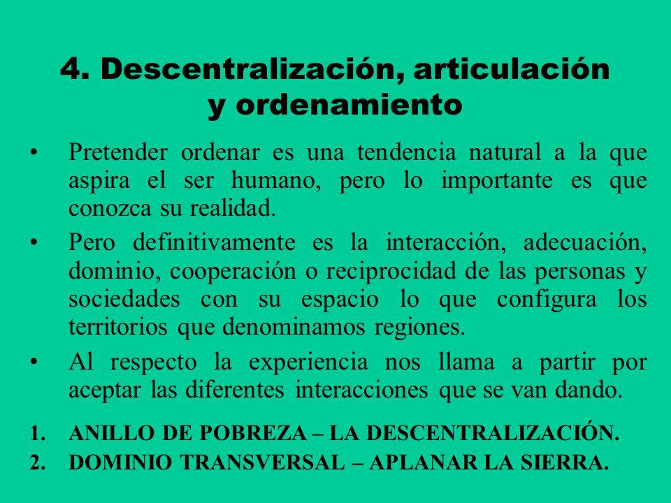 4. Descentralización, articulación y ordenamiento