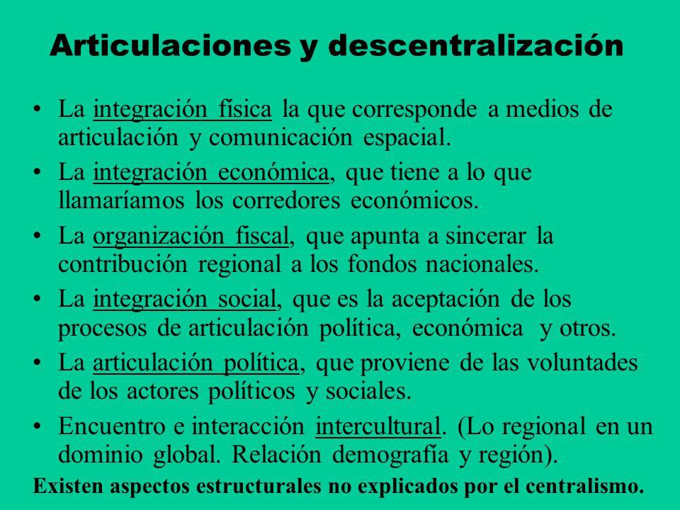 Articulaciones y descentralización