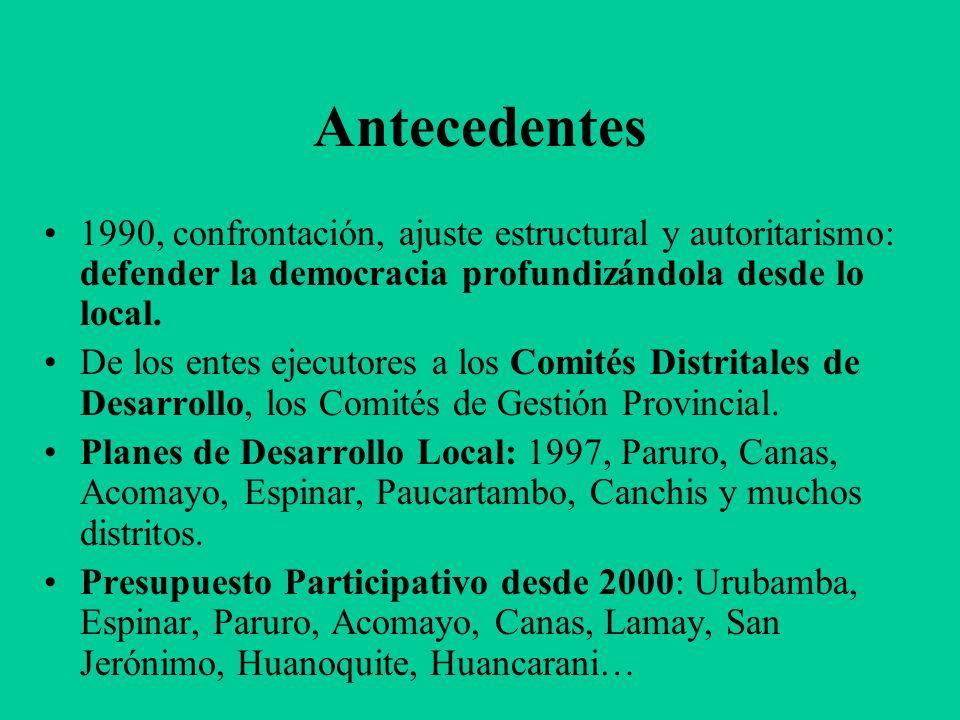 Antecedentes 1990, confrontación, ajuste estructural y autoritarismo: defender la democracia profundizándola desde lo local.