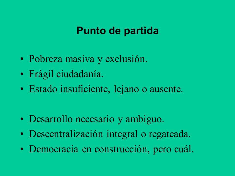 Punto de partida Pobreza masiva y exclusión. Frágil ciudadanía. Estado insuficiente, lejano o ausente.