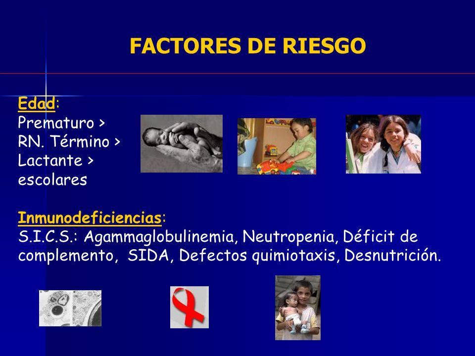 FACTORES DE RIESGO Edad: Prematuro > RN. Término > Lactante >