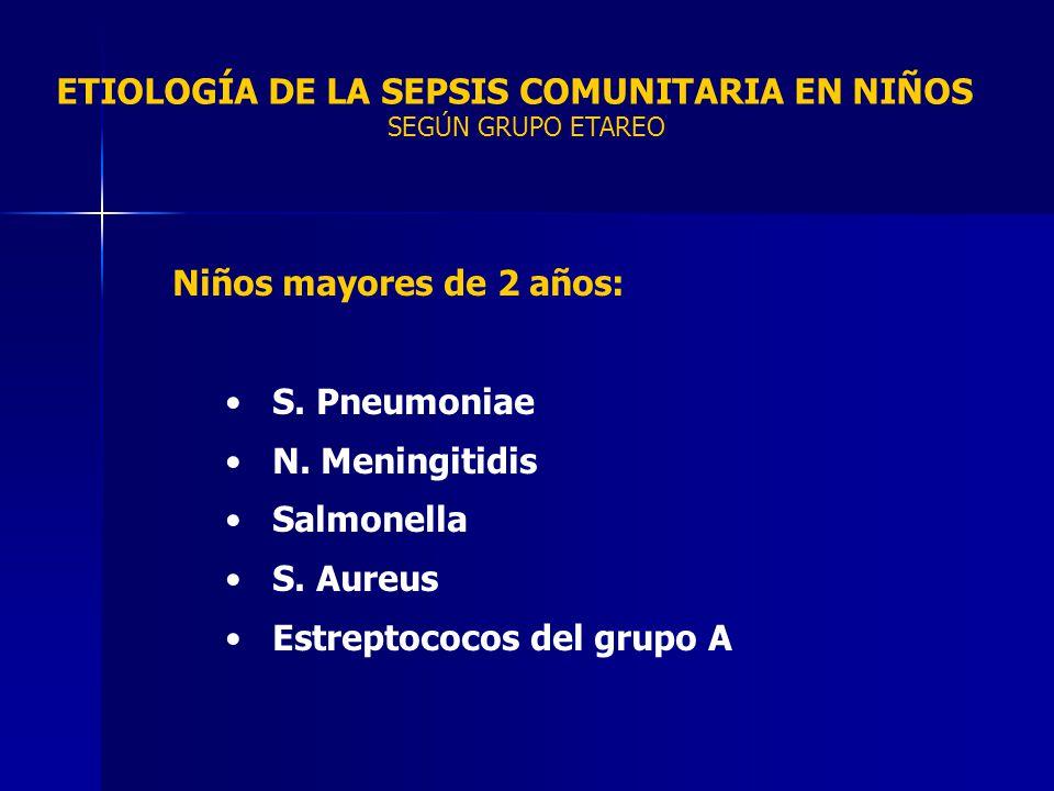 ETIOLOGÍA DE LA SEPSIS COMUNITARIA EN NIÑOS