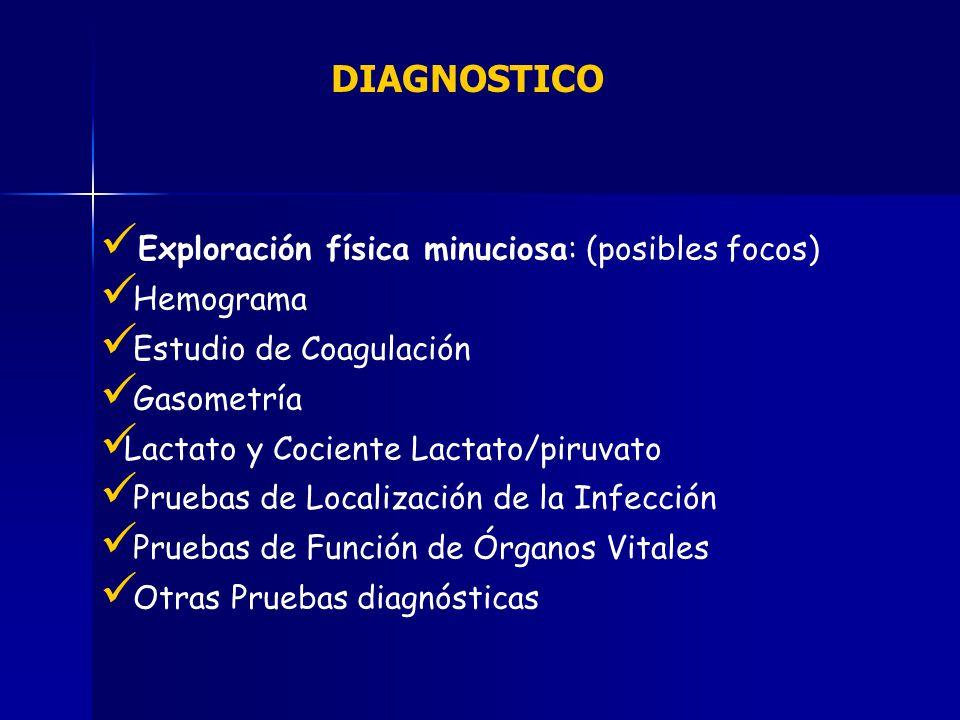 DIAGNOSTICO Exploración física minuciosa: (posibles focos) Hemograma