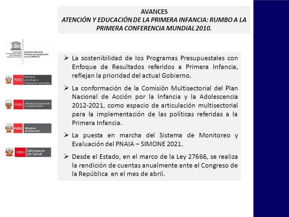 AVANCES ATENCIÓN Y EDUCACIÓN DE LA PRIMERA INFANCIA: RUMBO A LA PRIMERA CONFERENCIA MUNDIAL 2010.