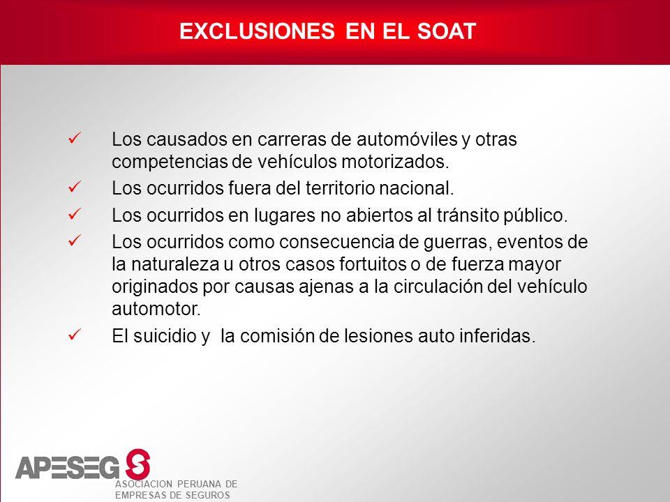 EXCLUSIONES EN EL SOAT Los causados en carreras de automóviles y otras competencias de vehículos motorizados.