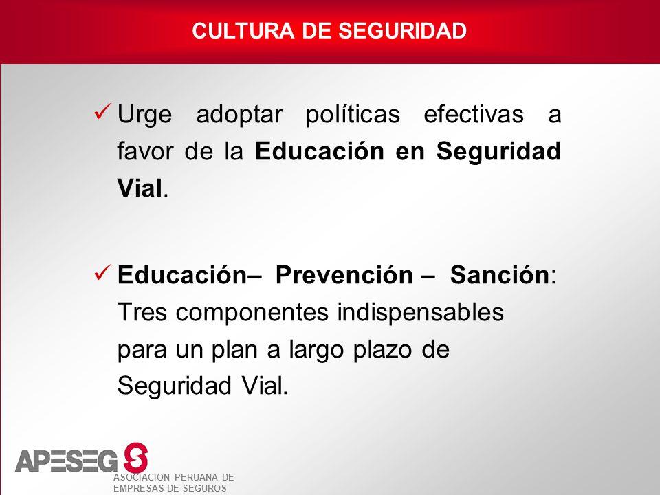 CULTURA DE SEGURIDAD Urge adoptar políticas efectivas a favor de la Educación en Seguridad Vial.
