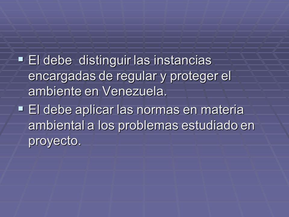 El debe distinguir las instancias encargadas de regular y proteger el ambiente en Venezuela.