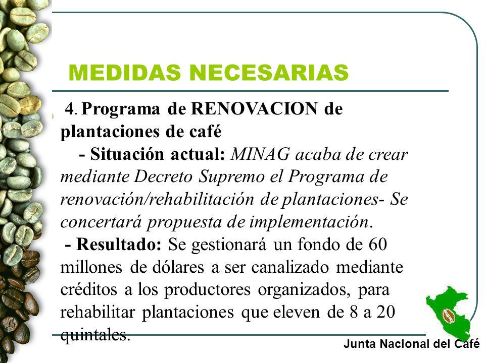 MEDIDAS NECESARIAS 4. Programa de RENOVACION de plantaciones de café