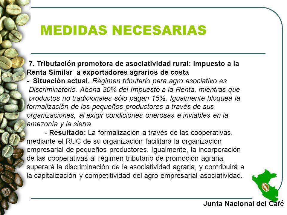 MEDIDAS NECESARIAS 7. Tributación promotora de asociatividad rural: Impuesto a la Renta Similar a exportadores agrarios de costa.