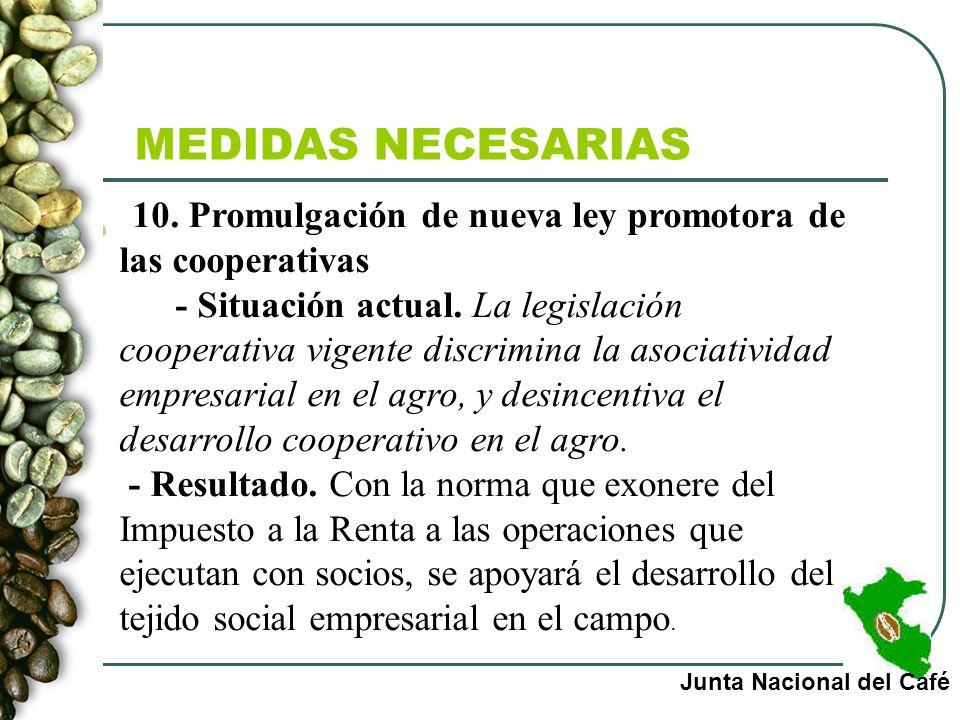 MEDIDAS NECESARIAS 10. Promulgación de nueva ley promotora de las cooperativas.