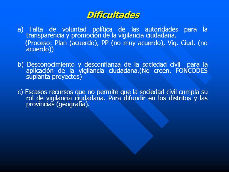 Dificultades a) Falta de voluntad política de las autoridades para la transparencia y promoción de la vigilancia ciudadana.