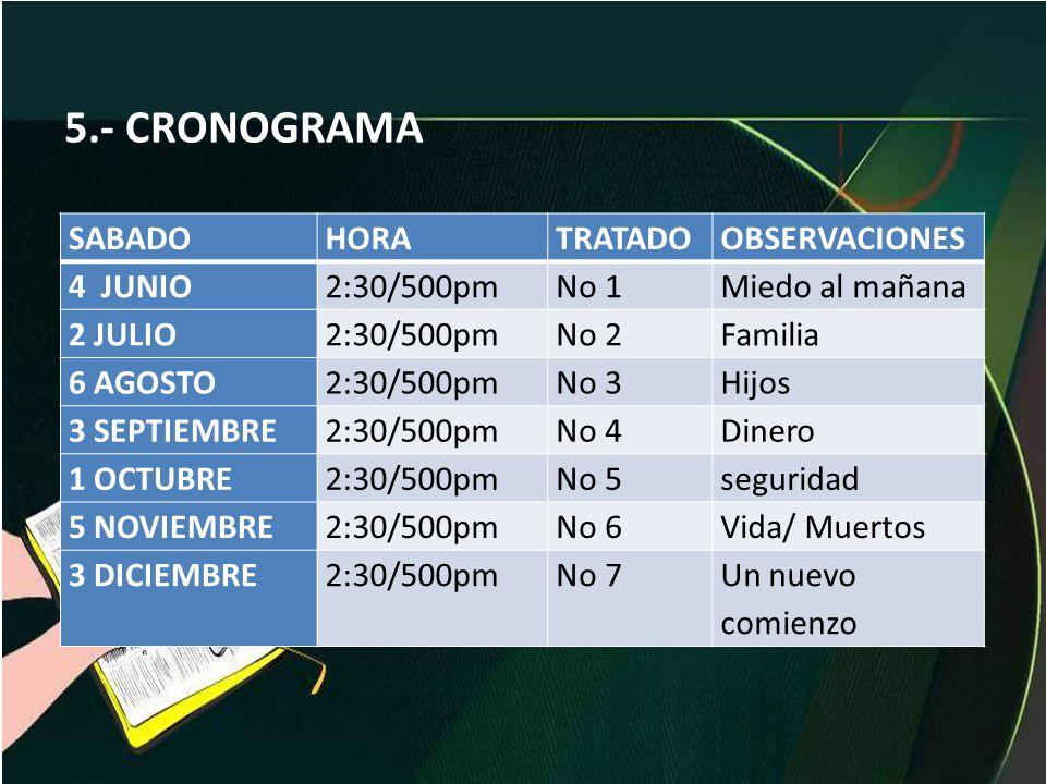 5.- CRONOGRAMA SABADO HORA TRATADO OBSERVACIONES 4 JUNIO 2:30/500pm
